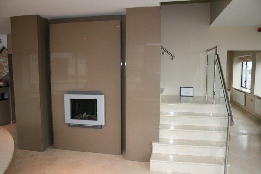 Quartz fire surround & Marble stairs